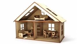 Замечательный домик для кукол с набором мебели.
