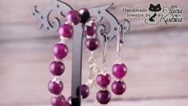 Яркий розовый фиолетовый комплект украшений. Пурпурный браслет и серьги