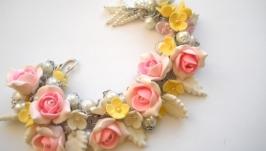 Весеннее украшение с жемчугом Розовый шарм