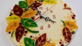 Часы настенные фьюзинг ′Осень′