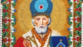 Икона бисером ′Святой Николай Чудотворец′