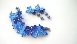 Комплект серьги и браслет Синяя птица
