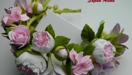 Венок Розы, пионы, гортензия