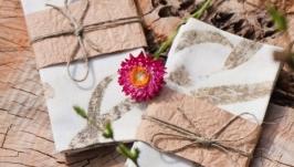 Салфетки льняные, набор 2 шт с принтами растений. Эко стиль. Эко принт