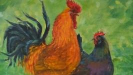 Картина маслом Петух и курочка