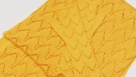 Комплект ажурный мериносовый шарф  митенки