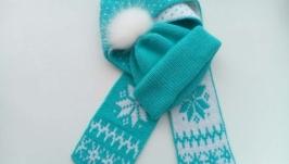 Теплый комплект шапка и шарф ′ Зимние узоры′