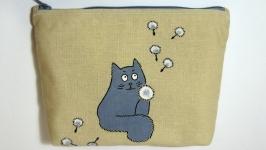 Косметичка ′Кот с одуванчиком′