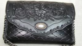 Женская сумочка-клатч из кожи растительного дубления