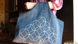 Denim bag Large jeans bag Beach bag Hand made bag with embroidery