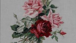 Цветы моего детства. Вышивка и живопись