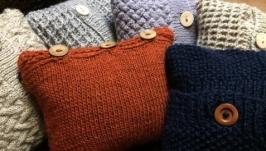 Декоративная вязаная наволочка (чехол)  подушка