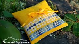 Весільна подушечка для обручок в українському стилі Жовто-блакитна мрія