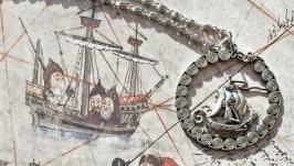 Кулон ′Странствия святого Брендана′ из нейзильбера на цепочке