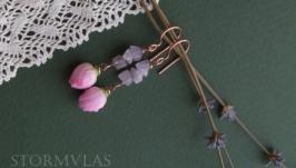 Ніжні сережки з рожевим кварцом та рожевими трояндами з полімерної глини