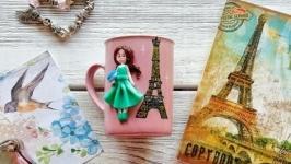 Кружка с декором из полимерной глины ′Милая Парижанка′