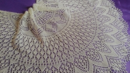 Летняя ажурная льняная шаль ′Белой акации гроздья душистые..′