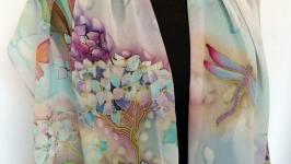 Шелковый шарф ′Гортензия′, шелк 100%, ручная роспись