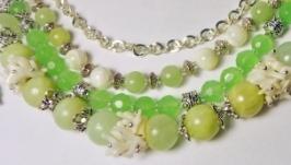 Многорядный браслет и серьги из натуральных камней  ′Жасмин′