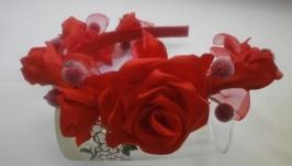Обруч-венок «Веточка с розами»