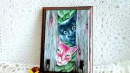 Вешалка ключница ′Коты на даче′