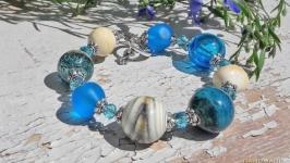 Браслет лэмпворк голубой морской