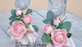 прикрашання весільних бокалів