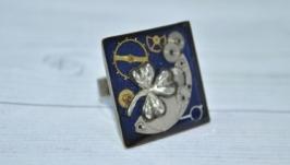 Кольцо Клевер в стиле Стимпанк