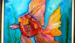 Авторский батик ′Золотая рыбка′