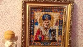 Икона Св.Николая Чудотворца. 17 цветов чешского бисера.