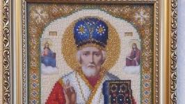 Икона Св.Николая Чудотворца. 16 цветов бисера  (8 747 бисеринок).
