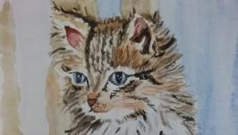 Котенок (картина акварелью)