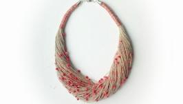 эко-украшения, эко-колье из натуральных льняных нитей и красного чешского бисера