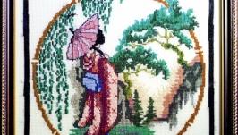 Картина Японка в розовом кимано