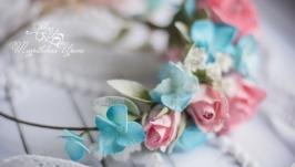 Розовые розы венок из  фоамирана