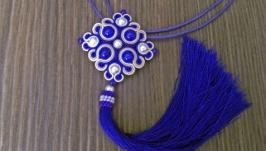 Кулон сине-бежевый