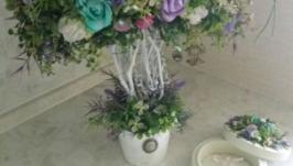 Свадебная цветочная композиция - дерево и шкатулка для обручальных колец