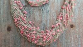 Эко-украшения, эко-кЭко-украшениет из льняных нитей и бусинок