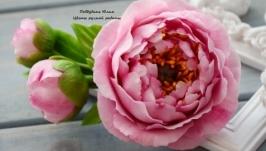 Розовые пионы (заколка-автомат)