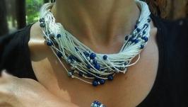 Комплект эко-украшений из льна. Колье на шею и браслет в морском стиле.