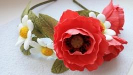 ободок полевых цветов из фома