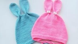 Чепчик с ушками, шапочка с ушками, шапка-зайчик для новорожденных