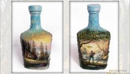 «Заядлый рыболов» Оригинальный декор бутылки в подарок рыбаку