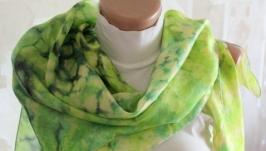 Шовкова хустка Зелена змійка (green snake) Silk