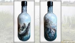 «Удачная рыбалка» Оригинальный декор бутылки в подарок рыбаку
