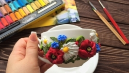Набор фарфоровая чашка с блюдцем полевые цветы
