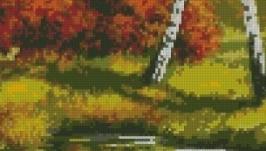 Схема вышивки крестом Осень. Березы у пруда