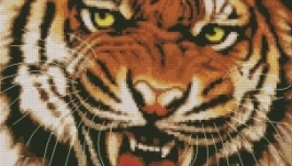 Схема вышивки крестом Ярость тигра