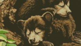 Медвежата. Схема вышивки крестом