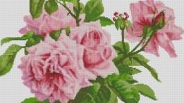 Схема вышивки крестом Веточки розовых роз